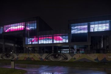Adaptation of video 'I AM THE MOUTH' by Agnieszka Polska, LED facade at MSU Zagreb, 19 Jan - 18 Mar 2018, Photo: Boris Cvjetanović