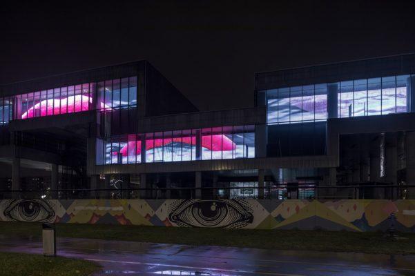 Adaptation of video 'I AM THE MOUTH' by Agnieszka Polska,LED facade at MSU Zagreb,19 Jan - 18 Mar 2018, Photo: Boris Cvjetanović