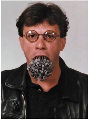 Luchezar Boyadjiev, How many Nails in the Mouth, Self Portrait with 2 kg 12,5 cm Long Nails in the Mouth, 1992–1995, Courtesy Künstler