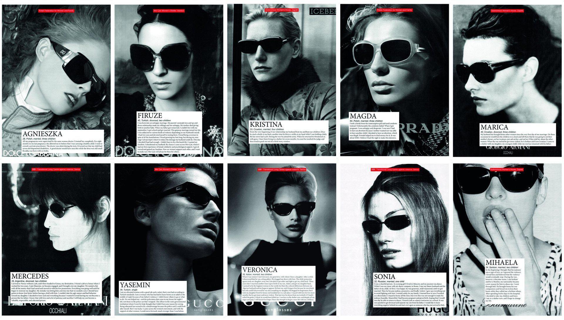 Sanja Iveković, Women's House (Sunglasses), 2002–2004