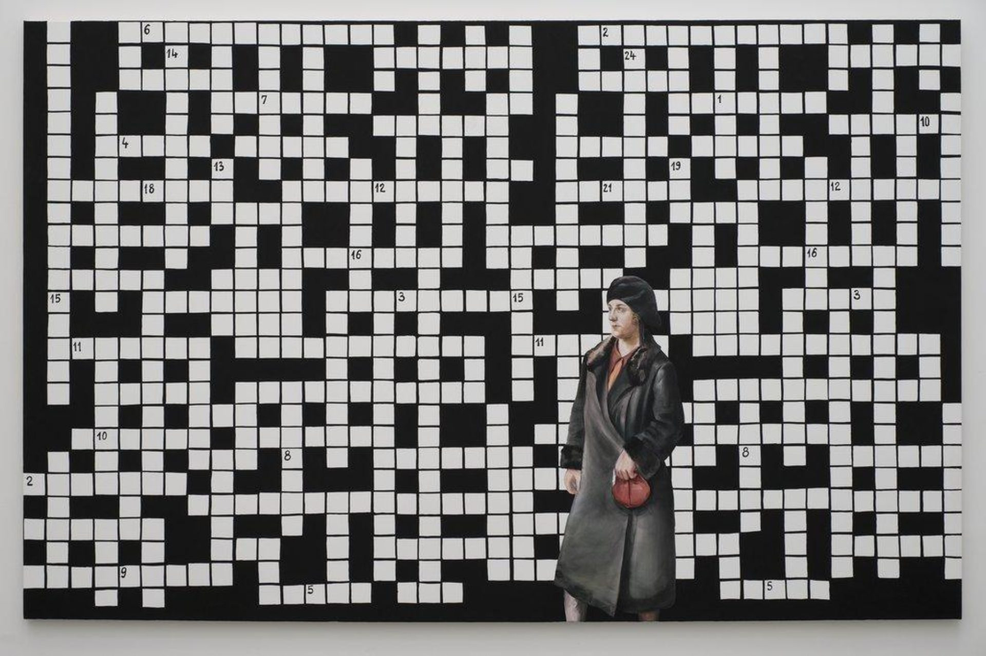 Paulina Ołowska, Crossword Puzzle with Lady in Black Coat, 2009