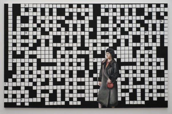 Paulina Ołowska, Crossword Puzzle with Lady in Black Coat, 2009