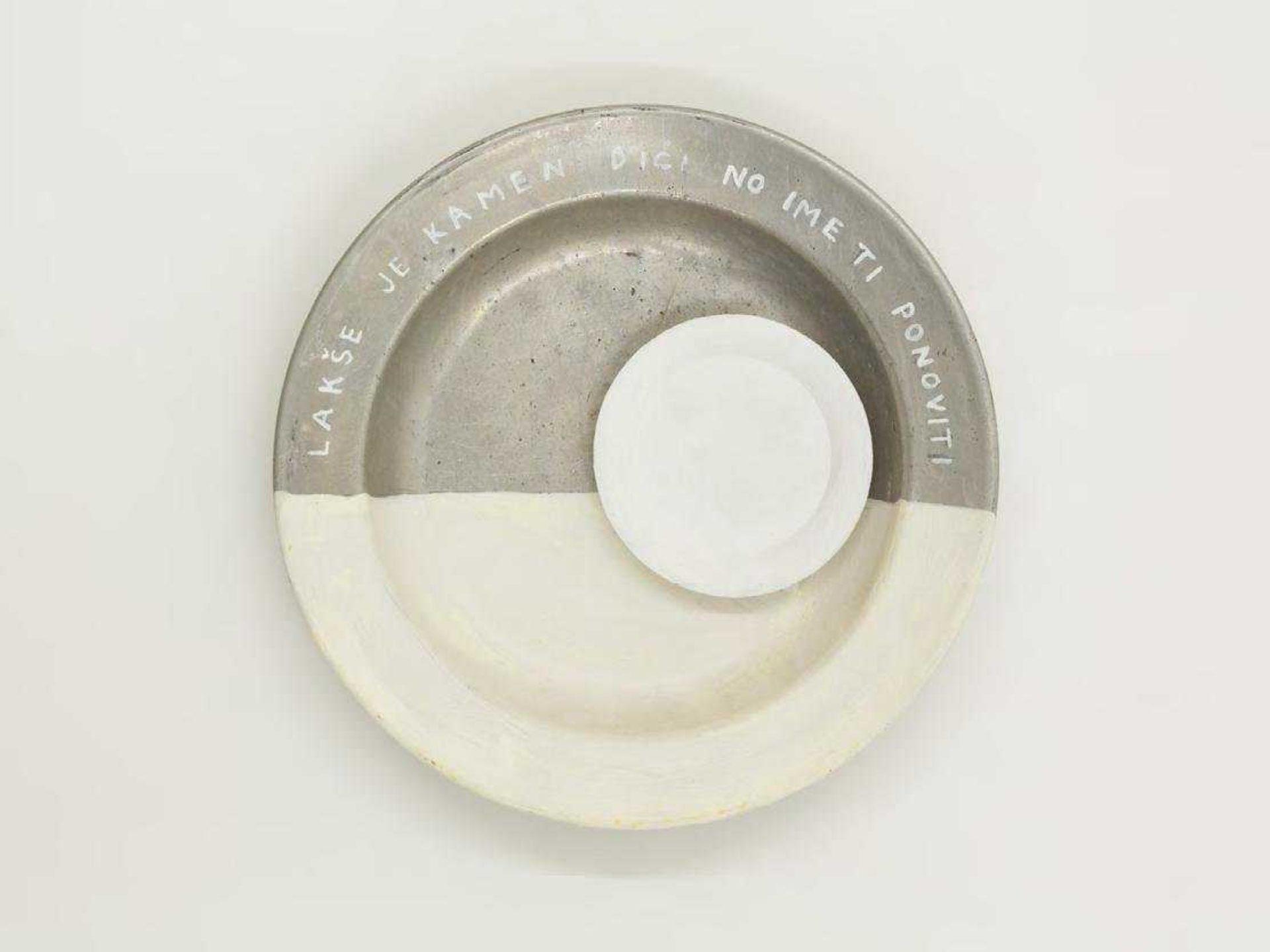 Mladen Stilinović, Lakse je kamen ime ti ponoviti (It's easier to lift a stone, than to repeat your name), 1994